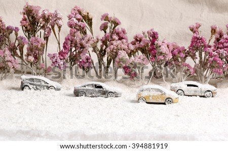 Car on the road with heavy snow. - stock photo