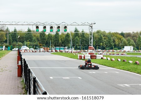 Car on the track karting outdoors