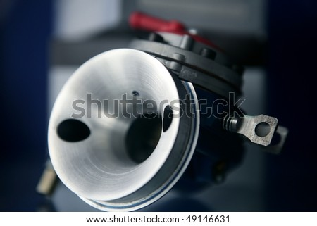 Car open carburetor macro - stock photo