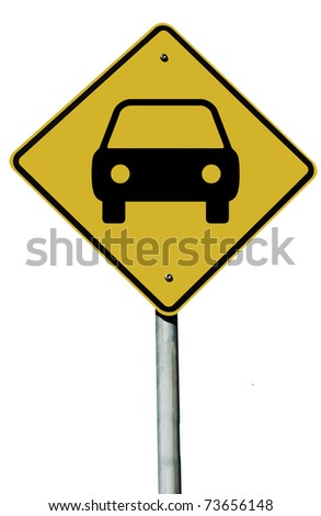 Car or Automobile sign isolated on a plain white background. - stock photo