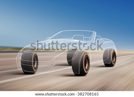 car outline and wheels rushes on road with high speed - stock photo