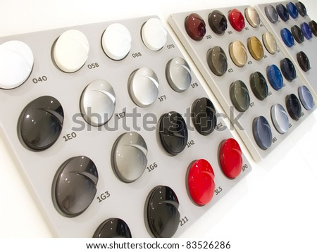 Car paint samples for selection - stock photo