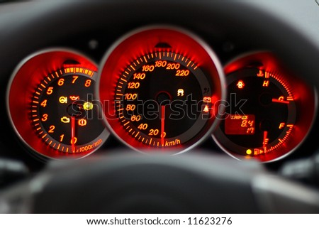 car panel instrument red speedometer and tachometer