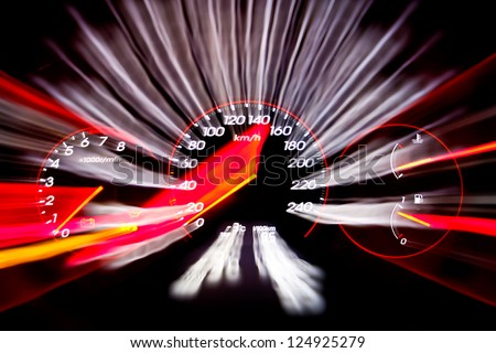Car panel instrument speedometer and tachometer - stock photo