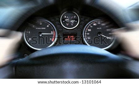 car panel instrument speedometer and tachometer (shallow dof) - stock photo