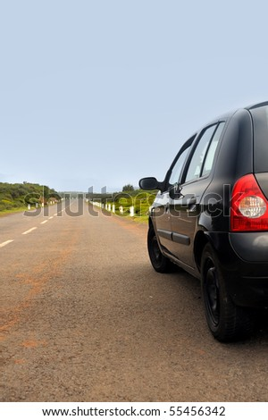 Car parked on road , Plateau of Parque natural de Madeira, Madeira island,  Portugal - stock photo