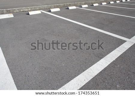 Car parking Lot at outdoor With White Marking  - stock photo