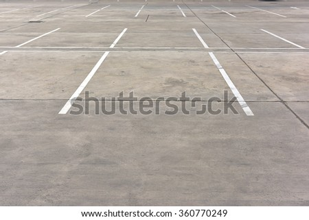 Car parking lot out door with white lines mark - stock photo