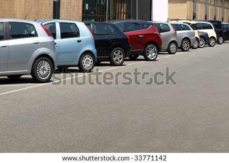 Car parking lot, with copy space on low/right area - stock photo