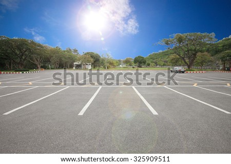 Car parking lot with white lines mark - stock photo