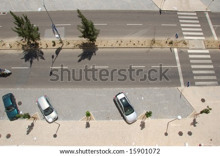 car parking lots from above - stock photo