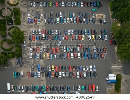 Car parking place from above. - stock photo
