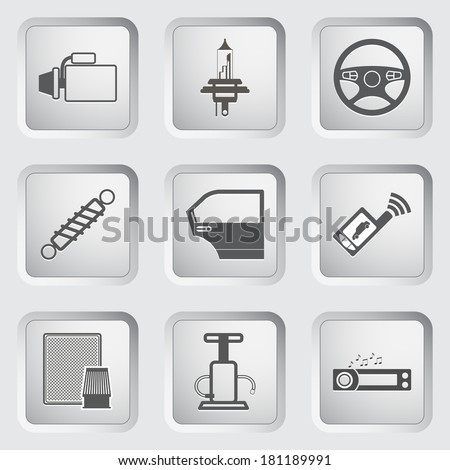 Car part and service icons set.  - stock photo