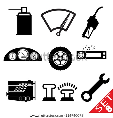 Car part icon set 8. Vector version also available in my portfolio. - stock photo