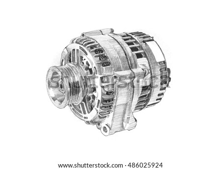 Car Parts Accessories Hand Drawing Alternators Stock Illustration ...