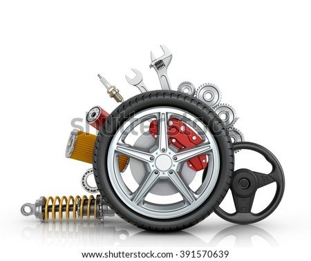 Car parts around the wheel isolated on white background. - stock photo
