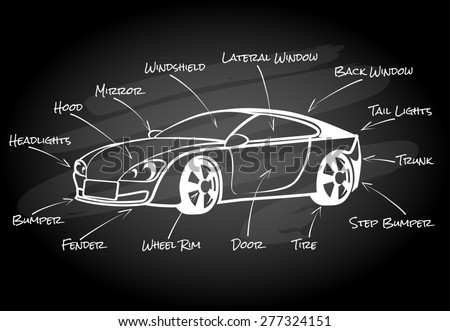 Car parts infographic element. Hood and fender bumper and headlight mirror and door & Car Parts Infographic Element Hood Fender Stock Illustration ...