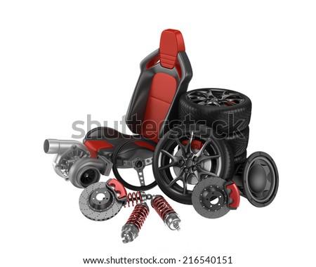 Car Parts isolated on white background - stock photo