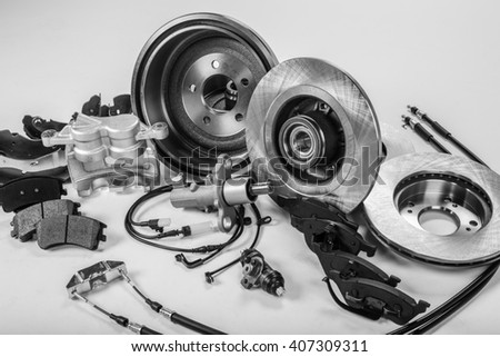 car parts on a gray background - stock photo
