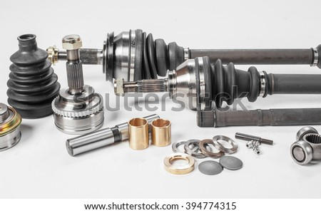 car parts on a white background - stock photo