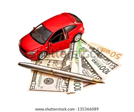 Car, pen and money. Concept for buying, renting, insurance, fuel, service and repair costs - stock photo