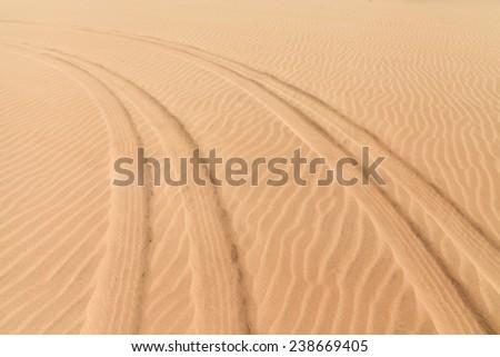 Car prints in sand, Boavista - Cape Verde - stock photo