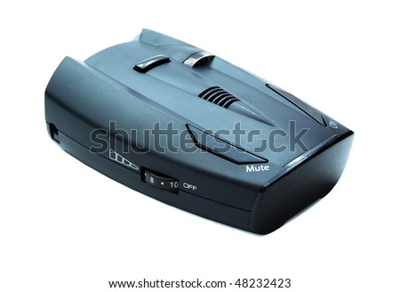 Car radar detector isolated on white - stock photo