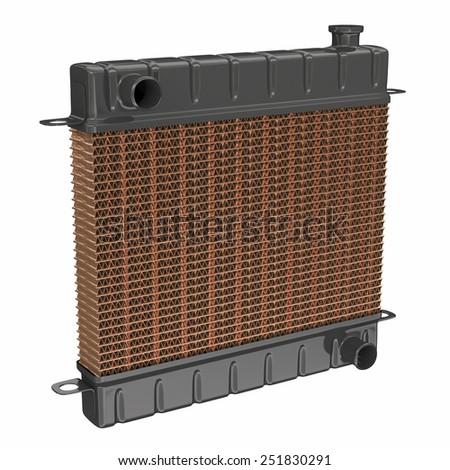 Car radiator isolated on white - stock photo