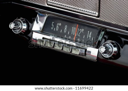 Car Radio in a old american car - stock photo