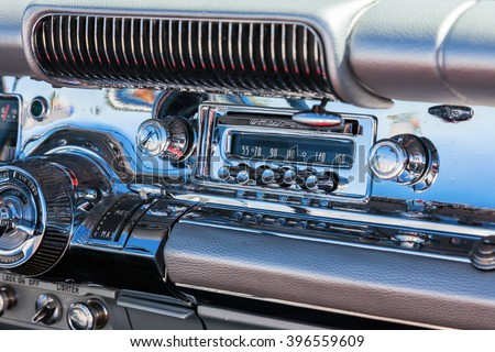 Car radio into the dashboard which is chromed - stock photo