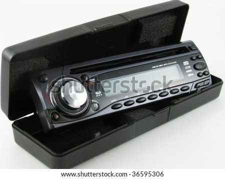 car radio isolated on white - stock photo