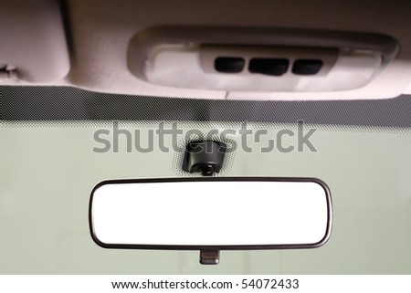 Car rear-view mirror. Copy space for your images - stock photo