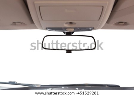 Car rear view mirror inside the car. - stock photo