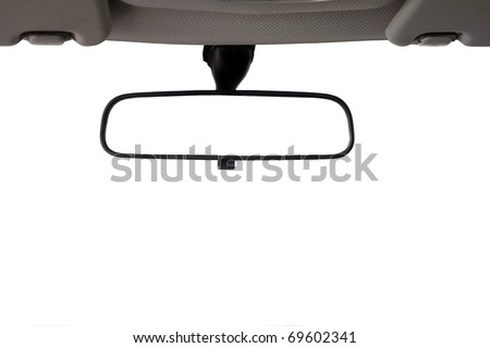 Car Rear view mirror isolated for creative landscape montage - stock photo