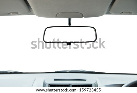 Car rear view mirror isolated on white. - stock photo