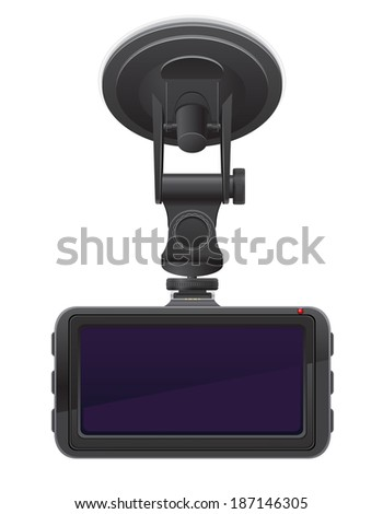 car recorder back view illustration isolated on white background - stock photo