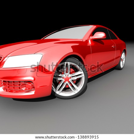 car red color on a dark background. with shiny paint and lights on. design concept.  3d rendering  modern car, front view