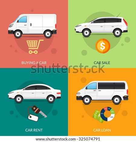 Car rent and sale design concept set with flat auto icons isolated  illustration - stock photo