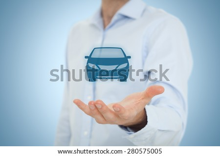 Car rental or carsharing service concept. Businessman with giving gesture and icon of car.