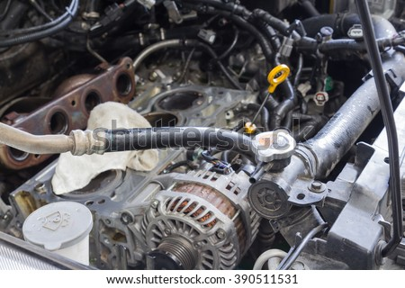 Car repair, car open hood prepare and checking car engine parts - stock photo