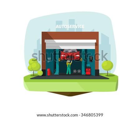 Car repair help garage, auto service center illustration with mechanic working under automobile, repairman flat modern graphic design, tools set, automotive technology electronics computer diagnostics - stock photo