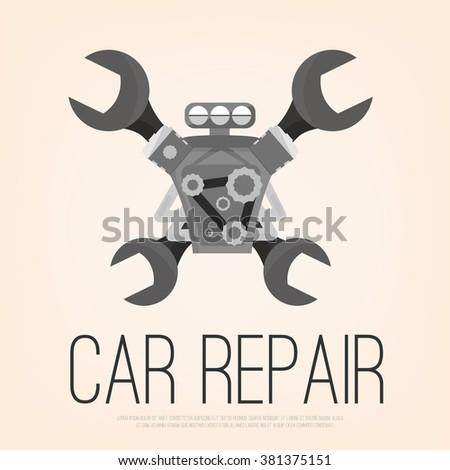 Car Repair Raster Logo Engine Maintenance Stock Illustration