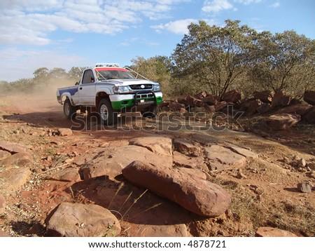 car riders in the Botswana Kalahari Desert Race 1000, sport series - stock photo