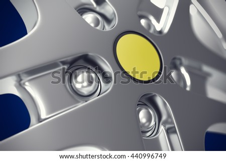 Car rim close-up view with focus effect. 3d illustration - stock photo