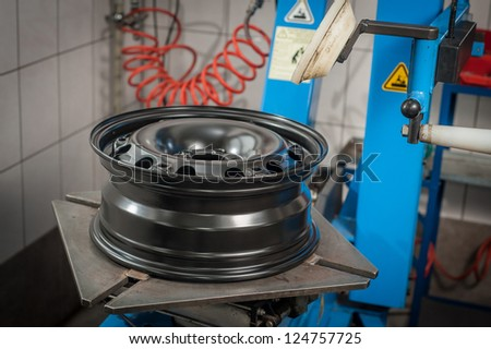 Car rim without tire - stock photo