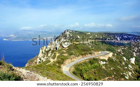 Car route from Cassis to La Ciotat: The famous route des Cretes A touristic road with beautiful views winding through the mountains and along the seaside    - stock photo