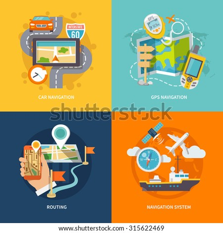 Car 60 Route map and GPS navigation system device 4 flat icons composition abstract isolated  illustration - stock photo