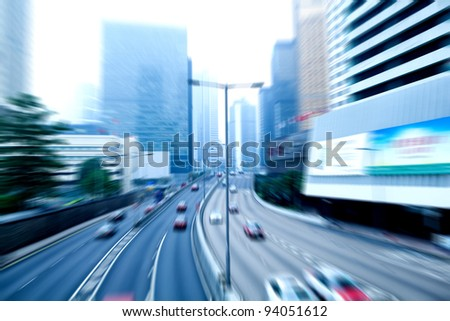 car rushing on the street in motion blur