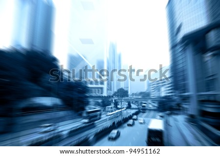 car rushing on the street in motion blur - stock photo