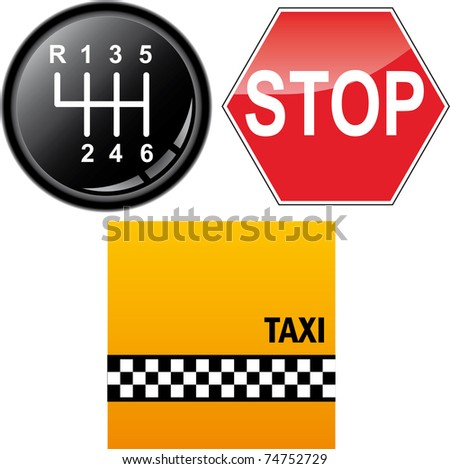 Car's gear stick, stop sign and taxi cab background - stock photo